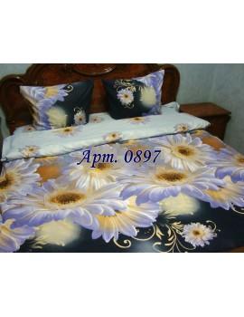 Полуторный комплект постельного, ранфорс, рисунок 3Д, 100% хлопок, Арт. 0897