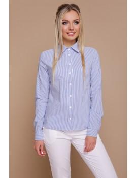 Приталенная женская рубашка в полоску Рубьера синяя, размер S, M, L