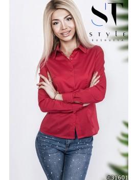 Классическая коттоновая рубашка женская р. 42-48 Арт. 31601 Красная