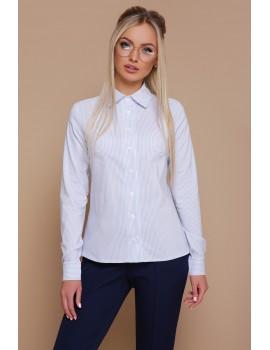 Приталенная женская рубашка в полоску Рубьера голубая, размер S, M, L