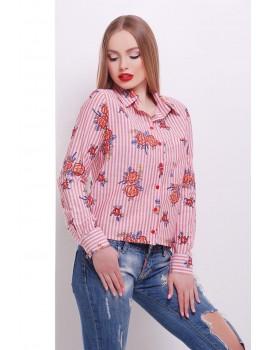 Свободная рубашка с розами Рипосто, красная размеры S, M, L