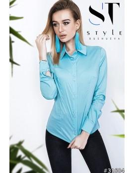 Классическая коттоновая рубашка женская р. 42-48 Арт. 31604 Бирюза