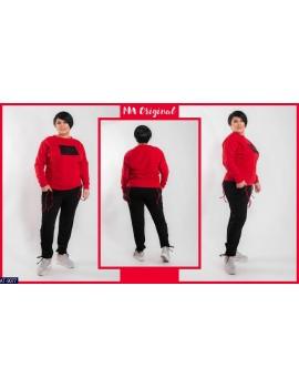 Спортивный костюм с нашивкой на груди Батал р. 48-54 красный