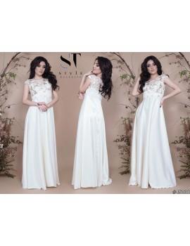 """Атласное вечернее платье в пол с гипюрным верхом """"Таис"""" Арт. 45038 Молоко"""