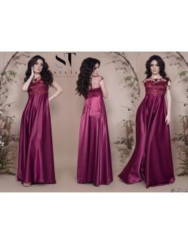 """Атласное вечернее платье в пол с гипюрным верхом """"Таис"""" Арт. 45041 Марсала"""