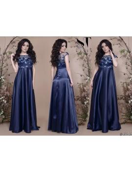 """Атласное вечернее платье в пол с гипюрным верхом """"Таис"""" Арт. 45040 Индиго"""