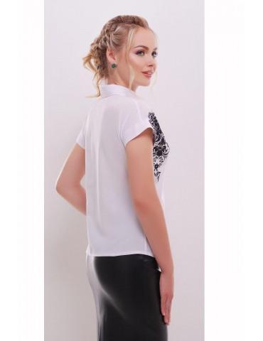 Белая блузка Элина с принтом черный узор, размеры S, M, L
