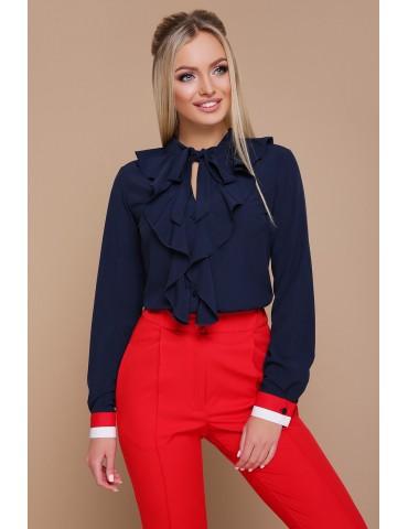 Блузка с воланами Бриана д/р, синяя