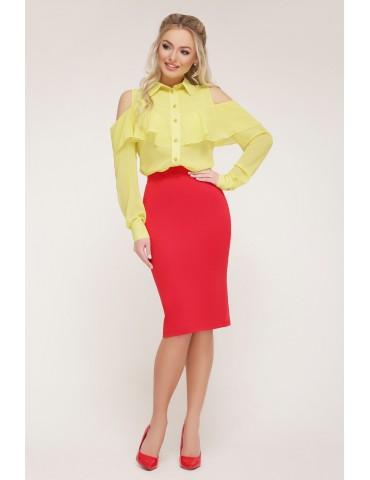 Шифоновая блузка с воланом и открытыми плечами Джанина д/р, желтая
