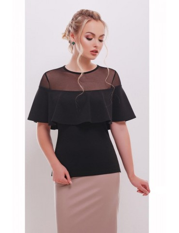 Нарядная черная блузка Сонья, размеры S, M, L
