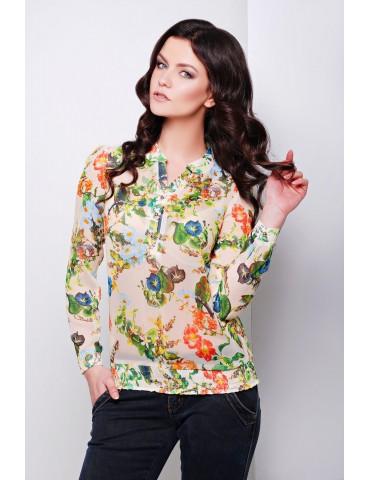 Блуза Весна, цв. бежевый-цветы, размер S