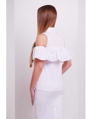 Блузка с открытыми плечами и воланом Калелья, белая размеры S, M, L