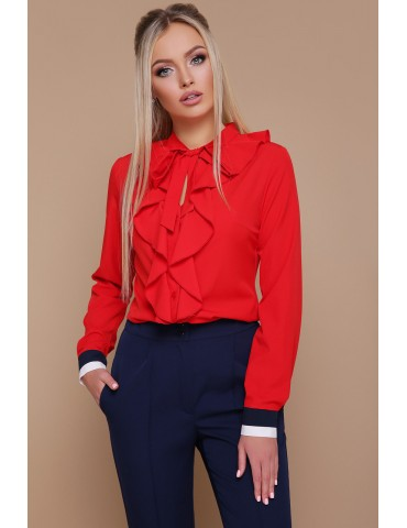 Блузка с воланами Бриана д/р, красная