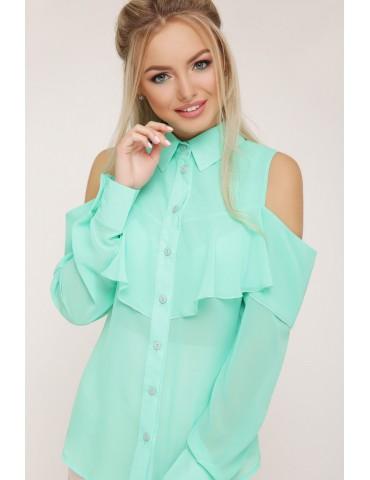 Шифоновая блузка с воланом и открытыми плечами Джанина д/р, мятная