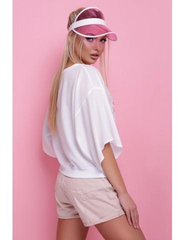 Свободная белая блузка Фламинго размеры S M L