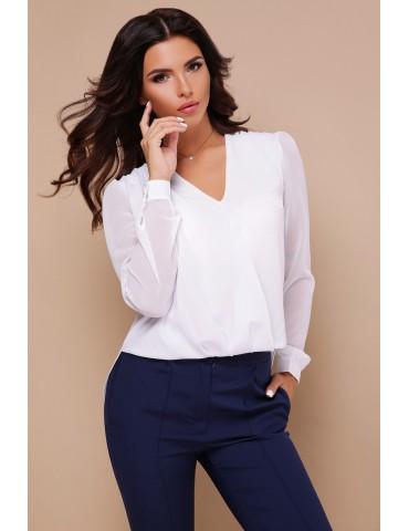 Белая блузка с кружевом Айлин д/р