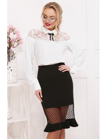 Блузка с кружевом Джустина д/р, белая