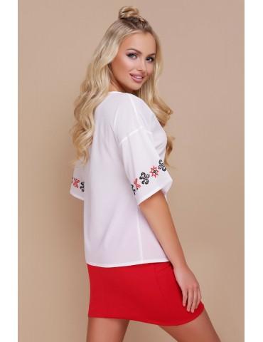 Блузка с этно-принтом Мирана, красный орнамент, размеры S M L