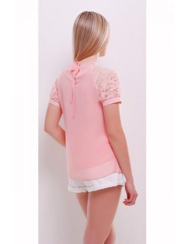 Шифоновая блузка с кружевом Ильва, персик, размер SML