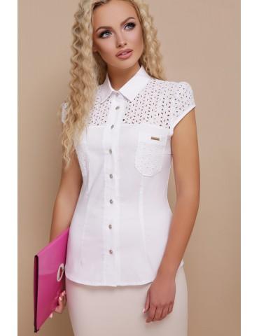 Летняя блузка с коротким рукавом и прошвой Фауста, размеры S, M, L