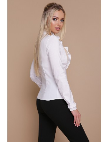 Белая блузка с рюшами Амина д/р