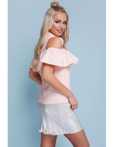 Блузка с открытыми плечами и воланом Калелья, персик размеры S, M, L