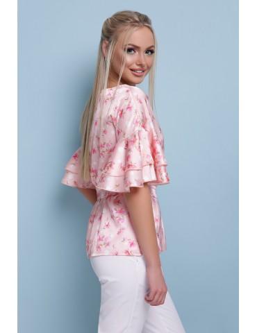 Шелковая блуза с воланами Мирабель, персик, размеры S M L