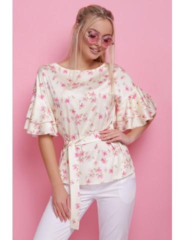 Шелковая блуза с воланами Мирабель, мята размеры S,