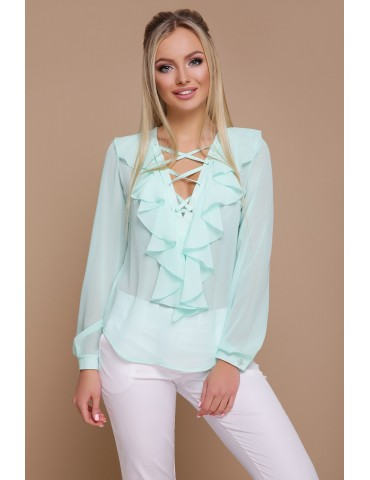 Мятная шифоновая блузка с воланами и шнуровкой Сиена д/р