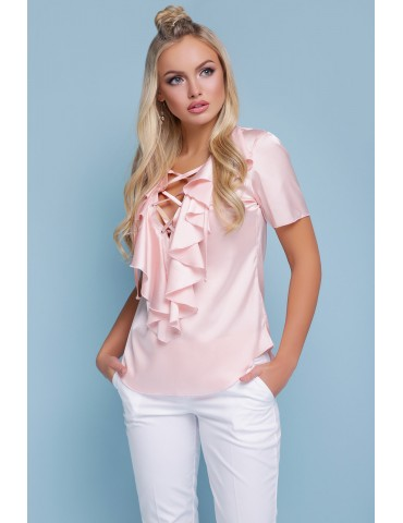 Нарядная персиковая блузка Сиена