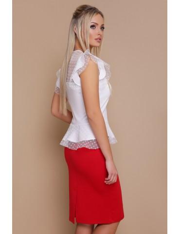 Блузка с баской в горошек Лайза белая