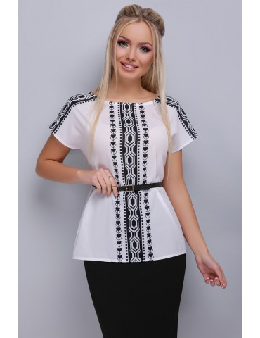 Черно-белая блузка с поясом Мира, размеры SML