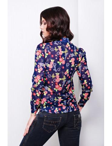 Блуза Весна д/р glam, цв.темно-синий-цветы, размер S