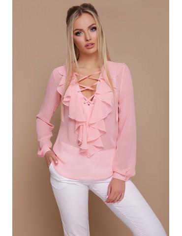 Персиковая шифоновая блузка с воланами и шнуровкой Сиена д/р