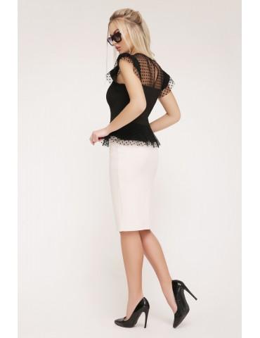 Блузка с баской в горошек Лайза черная