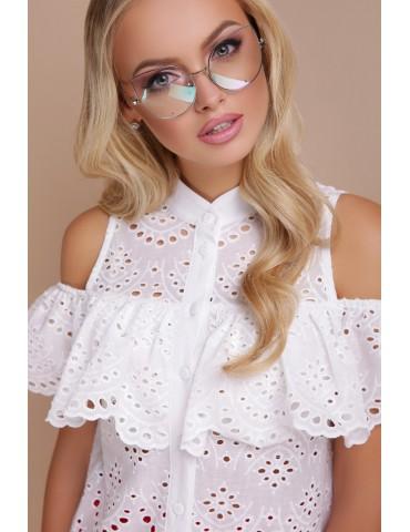 Блузка с открытыми плечами и воланом Калелья Прошва, белая, размеры S, M, L, XL