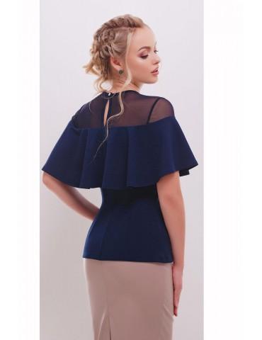 Нарядная блузка с воланом Сонья, темно-синяя размеры S, M, L
