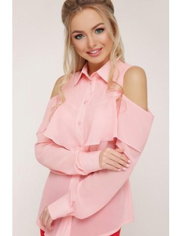Шифоновая блузка с воланом и открытыми плечами Джанина д/р, персик
