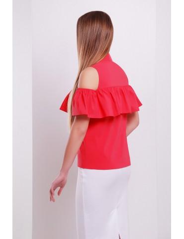 Блузка с открытыми плечами и воланом Калелья Б/Р, коралл размеры S, M, L
