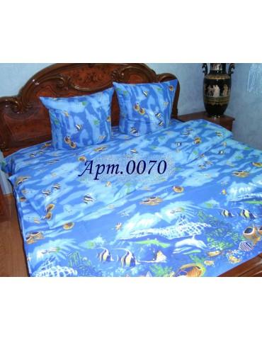 Комплект постельного БЯЗЬ оптом и в розницу, Аквариум синий 0070