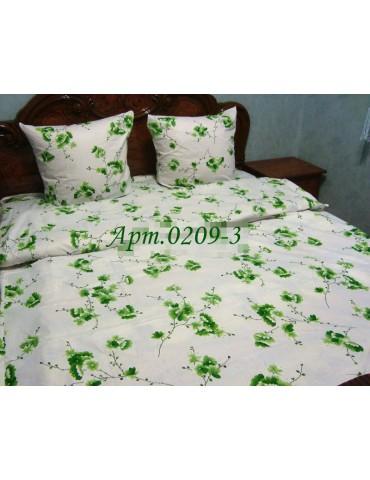 Комплект постельного БЯЗЬ оптом и в розницу, Дрібненька квіточка зеленая 0209-3