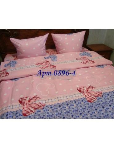 Комплект постельного БЯЗЬ оптом и в розницу, Микки-Бантик розовый 0896-4