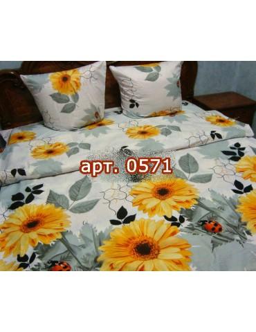 Комплект постельного БЯЗЬ оптом и в розницу, Желтые герберы на сером 0571