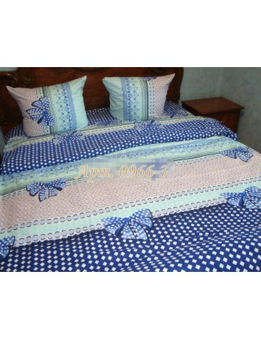 Комплект постельного БЯЗЬ оптом и в розницу, Голубое с бантиками, 0966-3