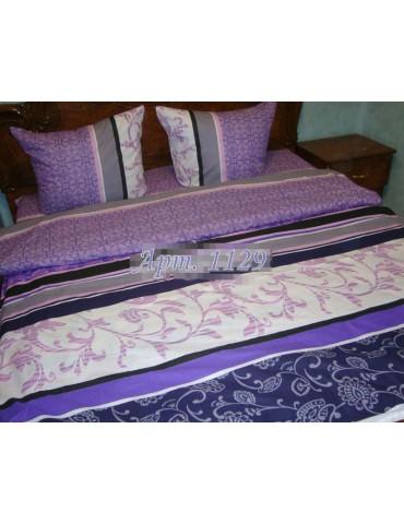 Полуторный комплект постельного белья из бязи, Полоска+вензель Фиолет, Арт. 1129