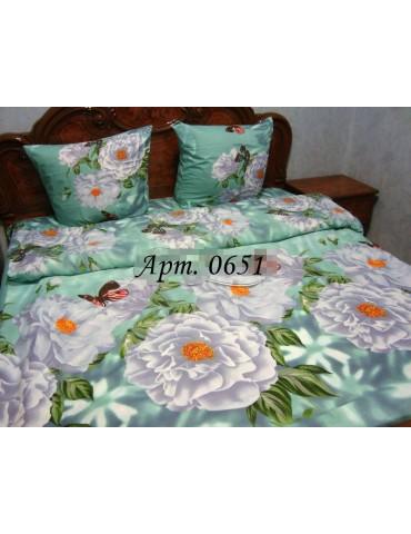 Комплект постельного БЯЗЬ оптом и в розницу, Нежно-зеленое с белыми цветами, 0651