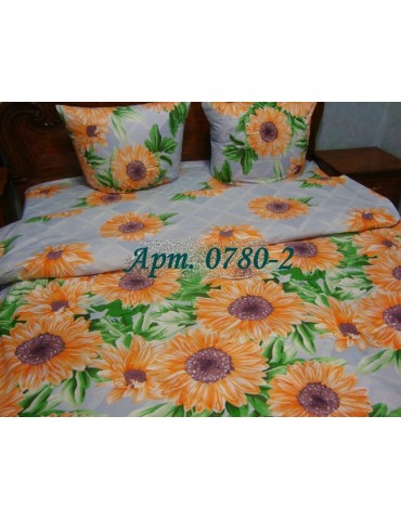 Комплект постельного БЯЗЬ оптом и в розницу, Желтые герберы на сером 0780-2