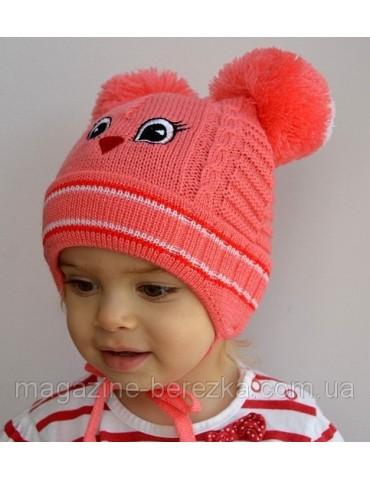 Детская шапка Птичка, на 1-4 года. Цвет РОЗОВЫЙ