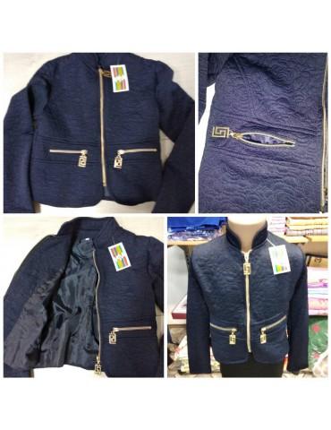 Пиджак-бомбер для девочки на молнии р. 140 темно-синий