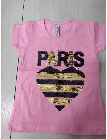 """Стильная футболка для девочки """"Париж-пайетки"""", размеры 92-152"""